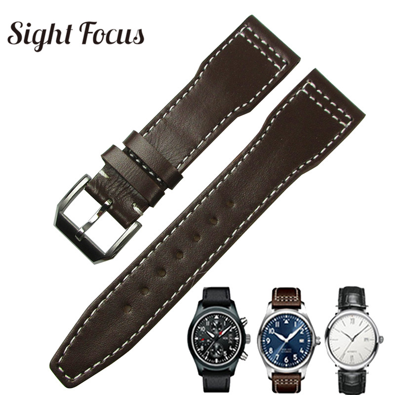 best service 3ef46 f29c1 20mm 21mm Brown Calfskin Leather Watch Band for IWC Pilot Mark XVIII  Spitfire Prince Watch Strap IW327004 IW377714 Belt Bracelet