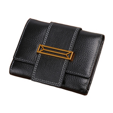 wallet women Genuine Leather Short Fashion Solid Hasp Organizer Wallets luxury brand money bag high quality cartera mujer new