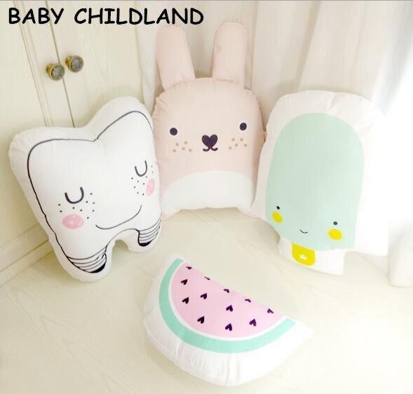 Cartoon Baby Pillow Kids Cute Educational Cushion Cotton Baby Room Decor Child Stuffed Soft Newborn Bed Doll Children Gifts 1pcs
