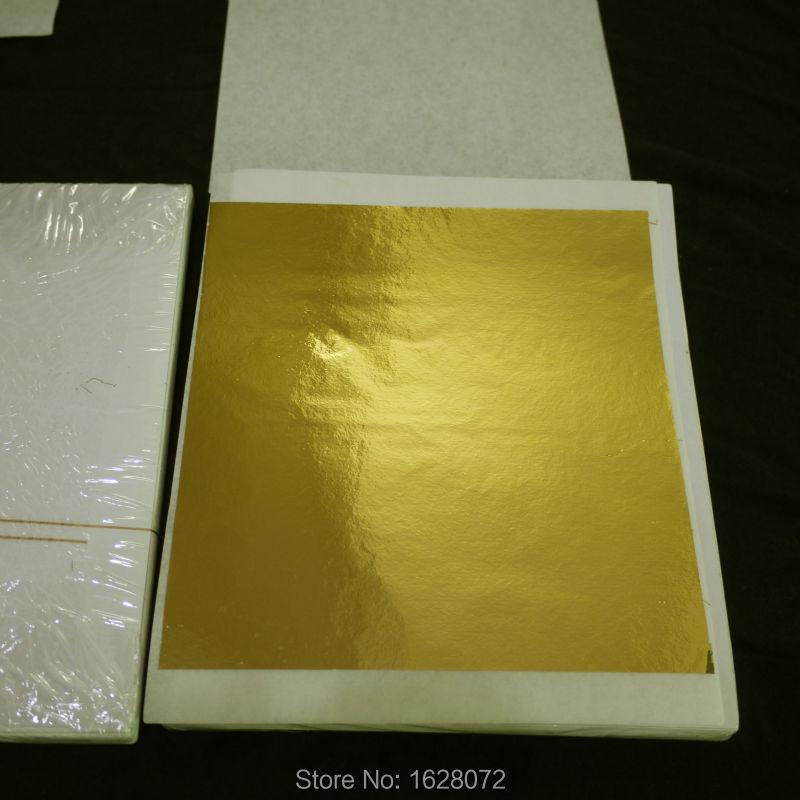 500 Sheets Shiny Imitation Gold Leaf Foil gilding color like 24k gold.80X85mm