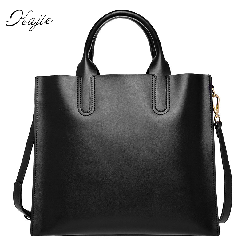 Kajie Genuine Leather Large Capacity Shopping Bag Female Girls Shoulder Top-handle Bags Designer Lady Handbags High Quality Big