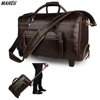 Vintage Genuine Leather Travel Rolling Bags on Wheels Men Women Waterproof Double Zipper Duffle Bag Trolley Wheeled Bags