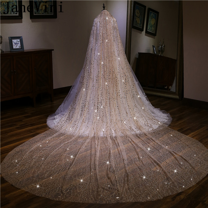 JaneVini Luxury 3.5M Champagne Gold Cathedral Bridal Veil One Layer Sequined Tulle Long Wedding Veils with Comb Mariage Voile