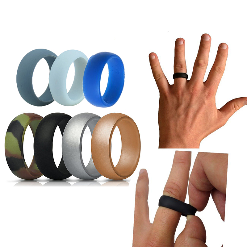 7pcs Men S Silicone Wedding Rings Stackable For Crossfit Gym Fitness