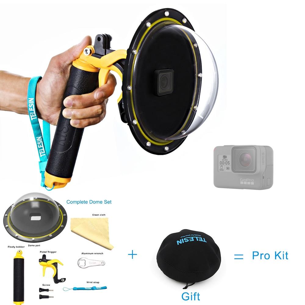 TELESIN 6 Puerto Domo carcasa resistente al agua para GoPro Hero 5 Black Hero 6 Hero (2018) Trigger Dome Cover lente accesorios de disparo