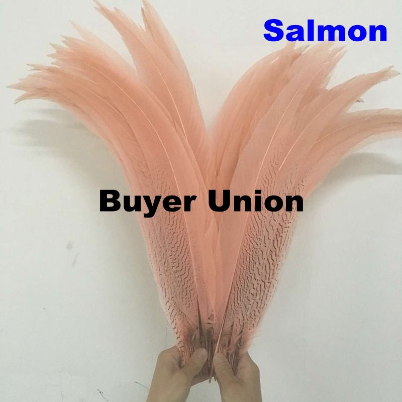 60pcs 65 70cm 26 28inch salmon silver pheasat feathe Dyed high quality super long chicken tails
