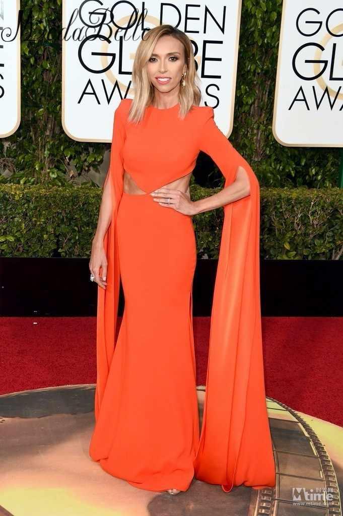 865d848248fd ... 73rd Golden Globe Awards Dresses Giuliana Rancic Celebrity Red Carpet  Dress Orange Sexy Mermaid Long Sleeve