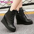 VINLLE 2016 Lace Up Wedges High Heel Western Style Boots Increased Internal Autumn Ladies Fashion Solid Ankle Boots Size 34-42