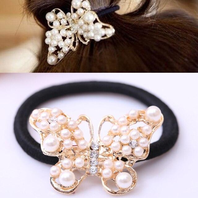 LNRRABC Women Imitation Pearls Butterfly Hair Rope Charm Crystal Rubber Headband Ponytail Gum Elastic Hair Bands Headband Gift
