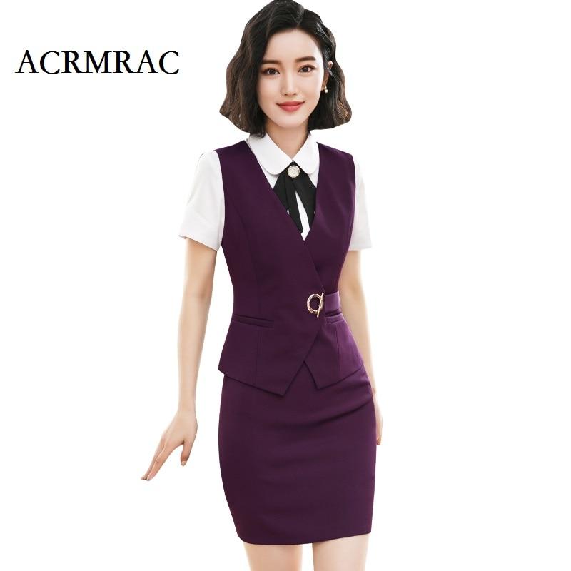 Acrmrac Frauen Neuen Stil Sommer Anzug Kurzen Anzug Streifen Dünne Weste Rock Business Ol Formalen Rock Anzüge GroßEr Ausverkauf