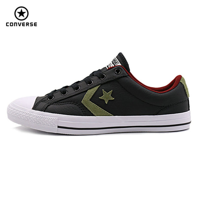 74be411f1440bf 100% original Converse Star Player Leather shoes black color man and women  Unisex PU Leather Skateboarding Shoes 153762C