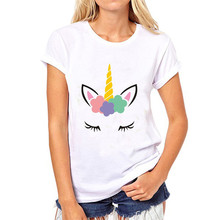 LUSLOS  Unicorn Face Women Cotton Summer T Shirt Lady Slim White Causal Super Soft O Neck Girl Short Sleeve