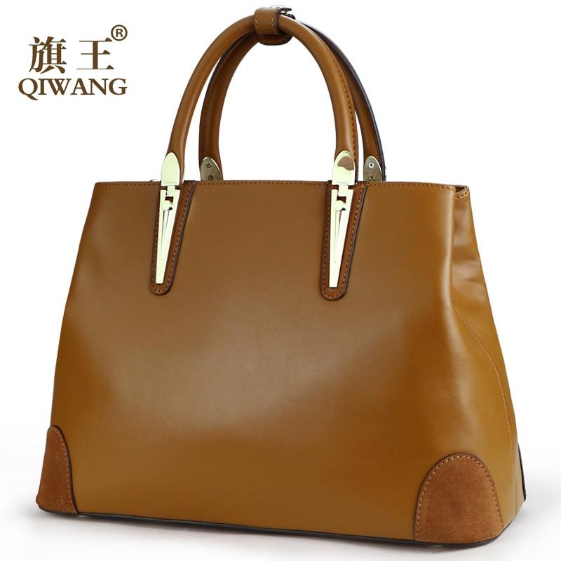 Qiwang Brand Genuine Leather Women Handbags Nappa Leather Bags Luxury Handbags Women Bags Designer Tote Bags