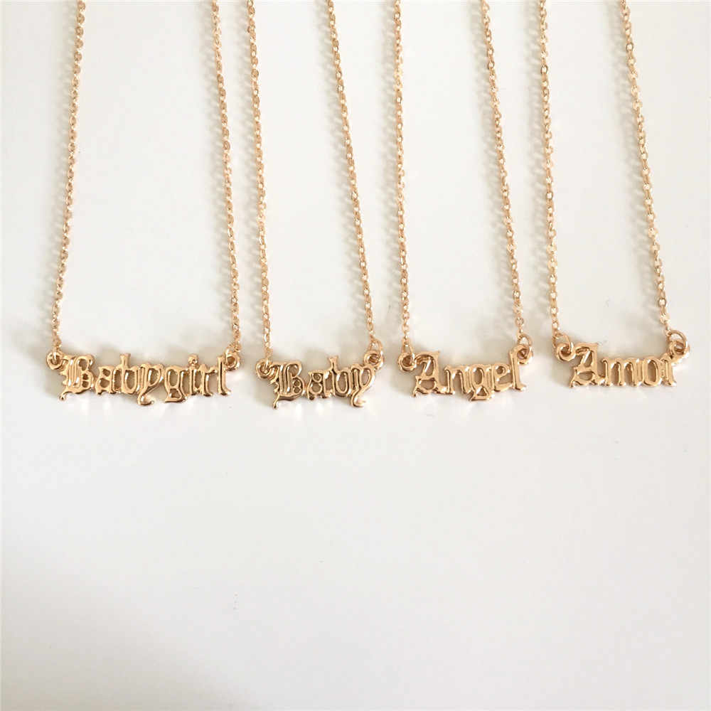 High Quality 2019 New Fashion Jewelry Gold Babygirl Letter Necklace Name Pendants Lovely Gift for the Mom