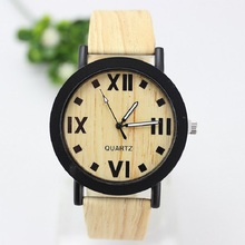 2016 New Design Fashion Unisex Quartz Watch Wood Stripes Dial Leisure 6 Color Free Shipping Hot Sale-45