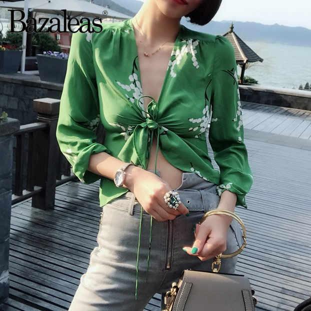 228aaa47be666d Bazaleas 2018 Fashion Star Struck summer women bondage Blouse long sleeve  cropped silk top v neck