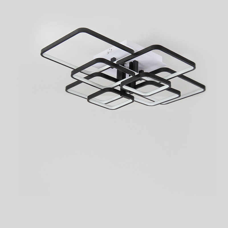Modern LED Chandelier Lights Fixtures For Living Room Black Home Bedroom Lamps With Remote Control Restoration Decor Lustre in Chandeliers from Lights Lighting
