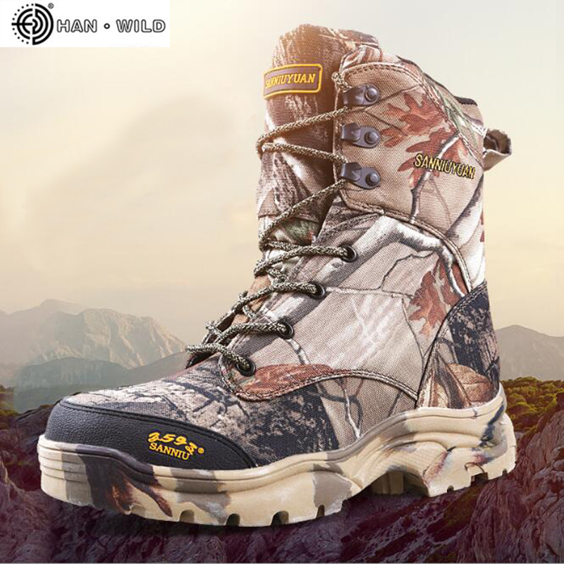 Men Military Army Boots Leather Waterproof Camouflage Printed Special Forces Desert hunting Shoes Combat Tactical Ankle