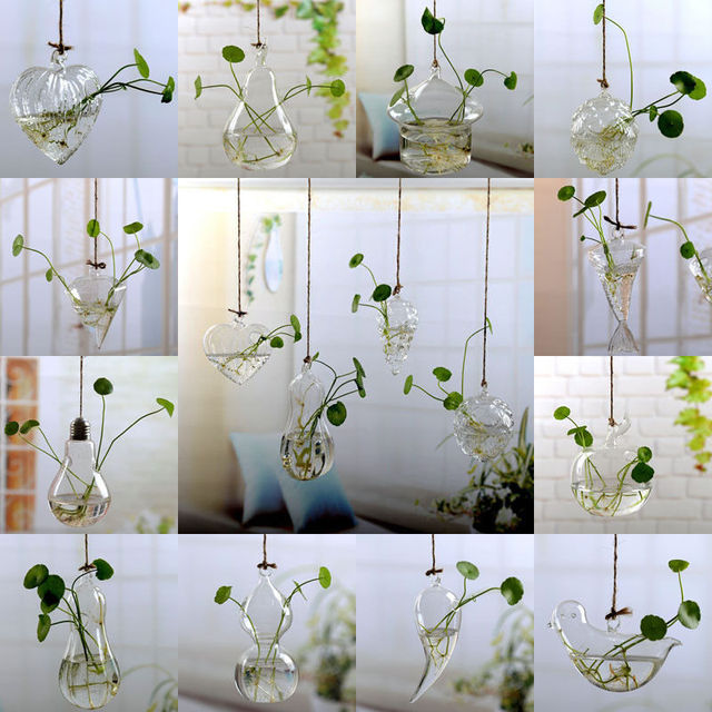 Fashion Transparent Home Garden Clear Glass Flower Plant Stand