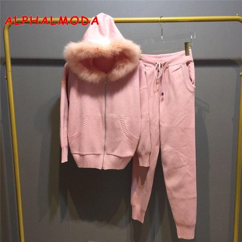 ALPHALMODA 2018 hiver nouveaux costumes tricotés veste à capuche en fourrure véritable pantalons en tricot femmes de mode pantalons Chandal Mujer Sweat costume