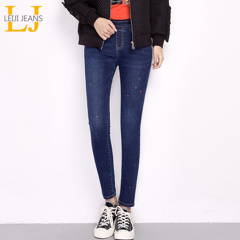 2018 LEIJIJEANS NewArrival For Women Plus Size L-6XL With High Waist Elastic Waist Casual Autumn and Winter Skinny Pencil Jeans
