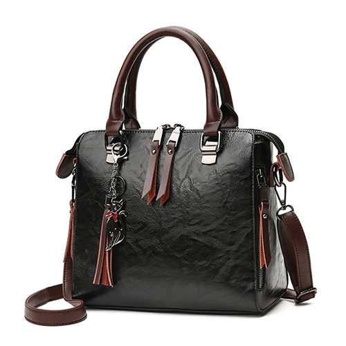 Vintage Cat Tassel Luxury Handbag Women Bags Double Zipper Crossbody Bags Shoulder Bag Casual Shell Tote Ladie