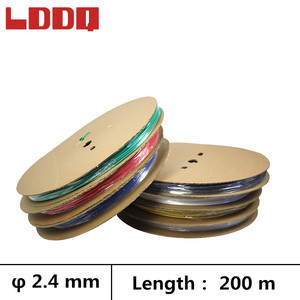 LDDQ 200m 3:1 Heat shrinkable tube adhesive with glue 2.4mm Wire cable sleeve Seven colors Heatshrink Waterproof termo retractil