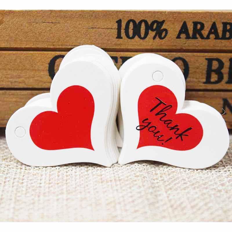 100 шт. Красная форма сердца Свадебные сувениры бирка, Крафт Спасибо Подарочная этикетка бирка, спасибо красное сердце печенье декоративная подвесная бирка