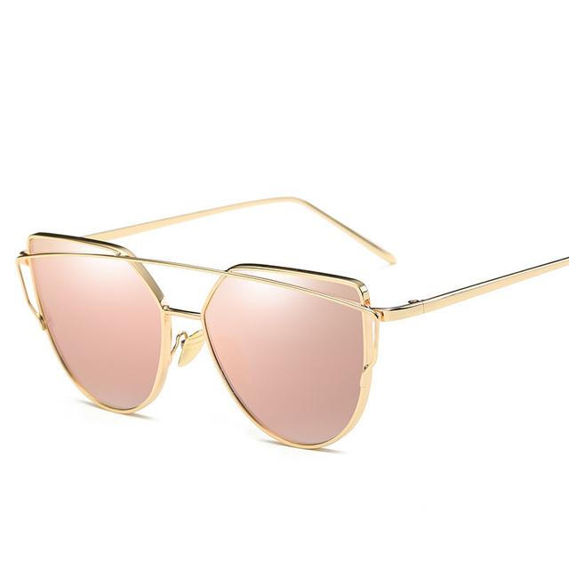 Fashion Brand Sunglasses For Women Glasses Cat Eye Sun Glasses Male Mirror Sunglasses Men Glasses Female Vintage Gold Glasses