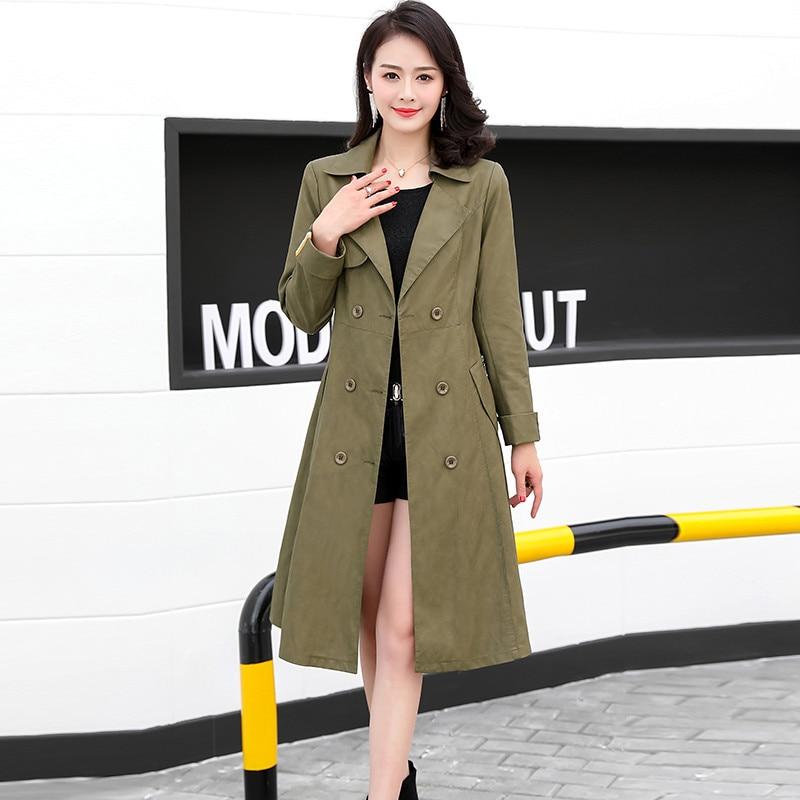 Pu armygreen Veste Green Femelle Manteau Taille Outwearodfvebx Femmes vent Automne Dark En Cuir 5xl Mode khaki Coupe 2018 Boutonnage L À Plus Double qxwIPRXC1