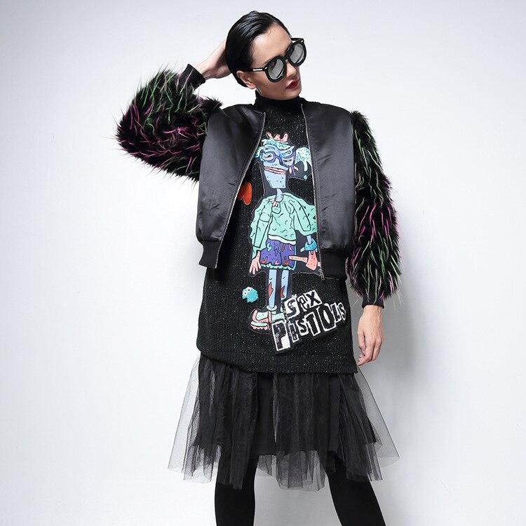 Señoras chaqueta de bombardero negro para mujer chaquetas
