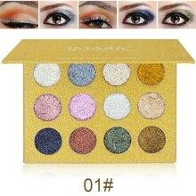 Мода глаз Красота 12 Цветов блестит тени для век diamond Радуга составляют косметический нажатии блестит тени для век магнит Палитры Лидер продаж