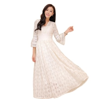 6049cceb31 Bohemian Style Hot Sale Retro Three-quarter Sleeve V Collar Collect Waist  Lace Long Dress ZQ381