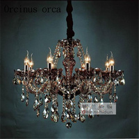 European Retro Crystal Chandelier smoky grey chandelier living room black crystal chandelier Free shipping