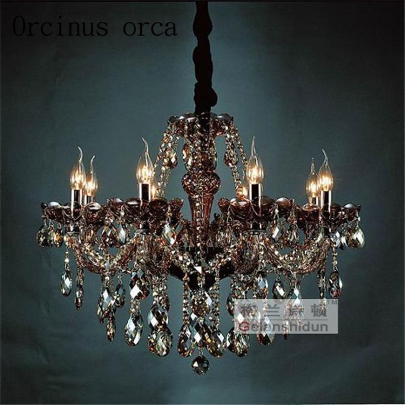Lustre en cristal rétro européen gris fumé lustre salon lustre en cristal noir livraison gratuite
