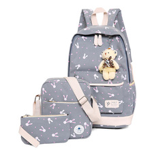 New 3pcs/set Canvas Backpack Women School Bag With Bear for Teenager girls Travel Cute Rucksack Shoulder