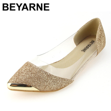 BYEARE 2018 new autumn womens shoes flat paillette shallow mouth single shoes round toe female gold and silver free shipping