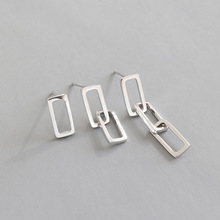HFYK 2019 Hollow Square Earrings For Women 925 Sterling Silver Jewelry boucle doreille femme brincos