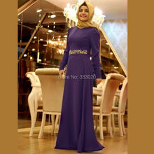 Purple Chiffon Long Sleeve Muslim Hijab Evening Dress Elegant Party Gown with Embroidery Belt robe de soiree