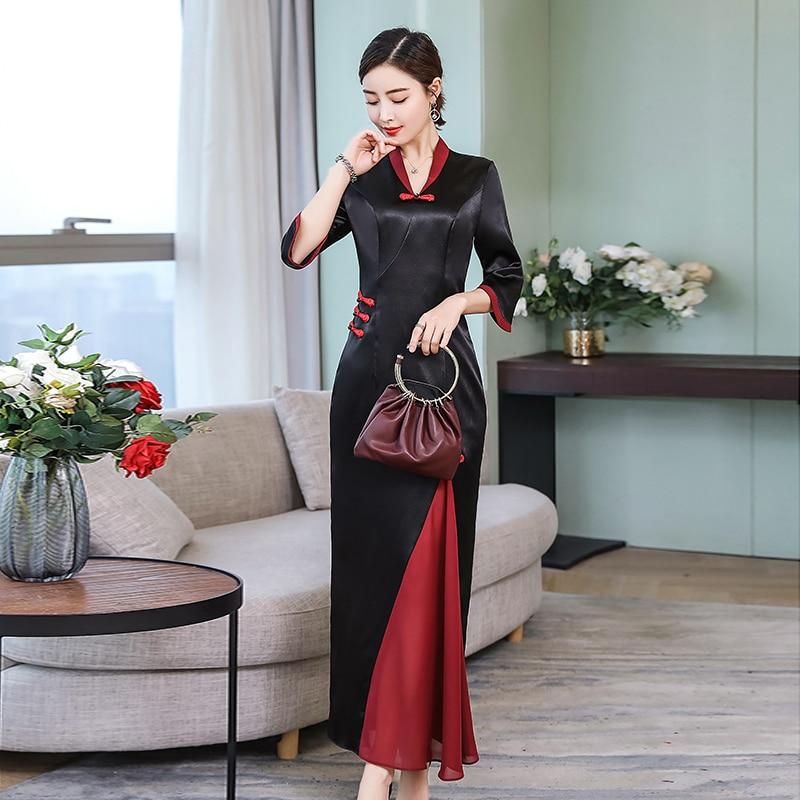 2019 Lady Gown Cheongsam Black Party Dress Qipao