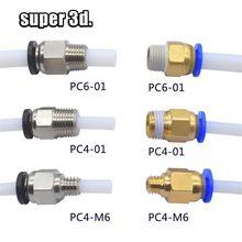 Conectores pneumáticos para impressoras 3d, 2 peças, bowden, juntor rápido, 1.75/3mm, tubo pc4 m6 m10 tubo 2/4mm de conexões ptfe