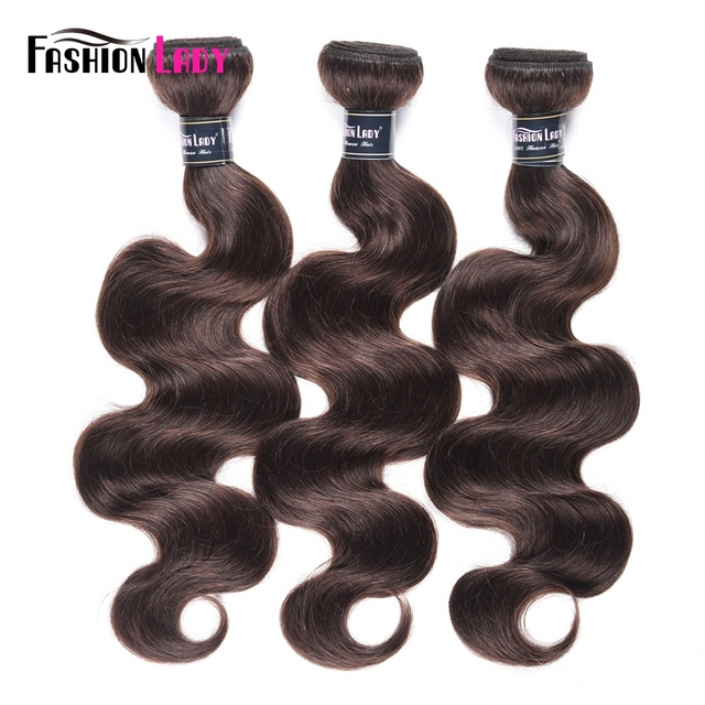 Fashion Lady Pre Colored Peruvian Hair Body Wave Bundles 100% Human Hair Weaves 2# Bundles Dark Brown Hair 3 Bundles Non remy