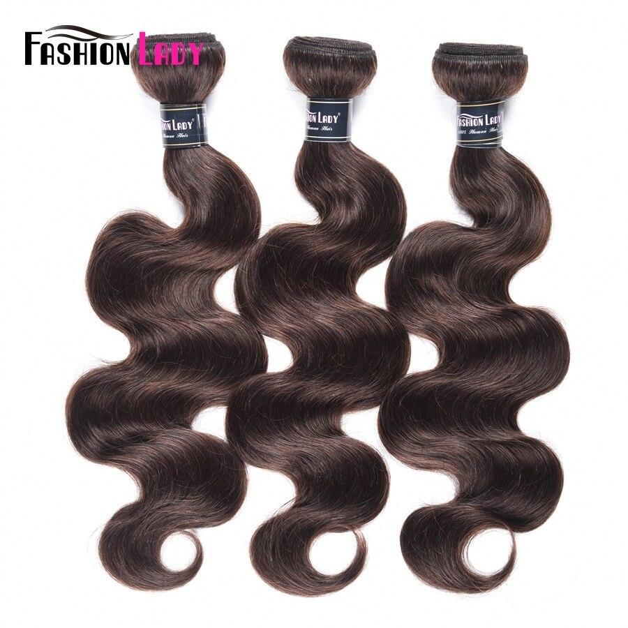 Fashion Lady Pre-colored Peruvian Hair Bodywave Bundles 100% Human Hair Weaves 2# Bundles Dark Brown Hair 3 Bundles Non-remy