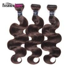 Fashion Lady mechones de pelo peruano precoloreado, cabello humano ondulado, 100%, 2 mechones, marrón oscuro, 3 mechones no remy