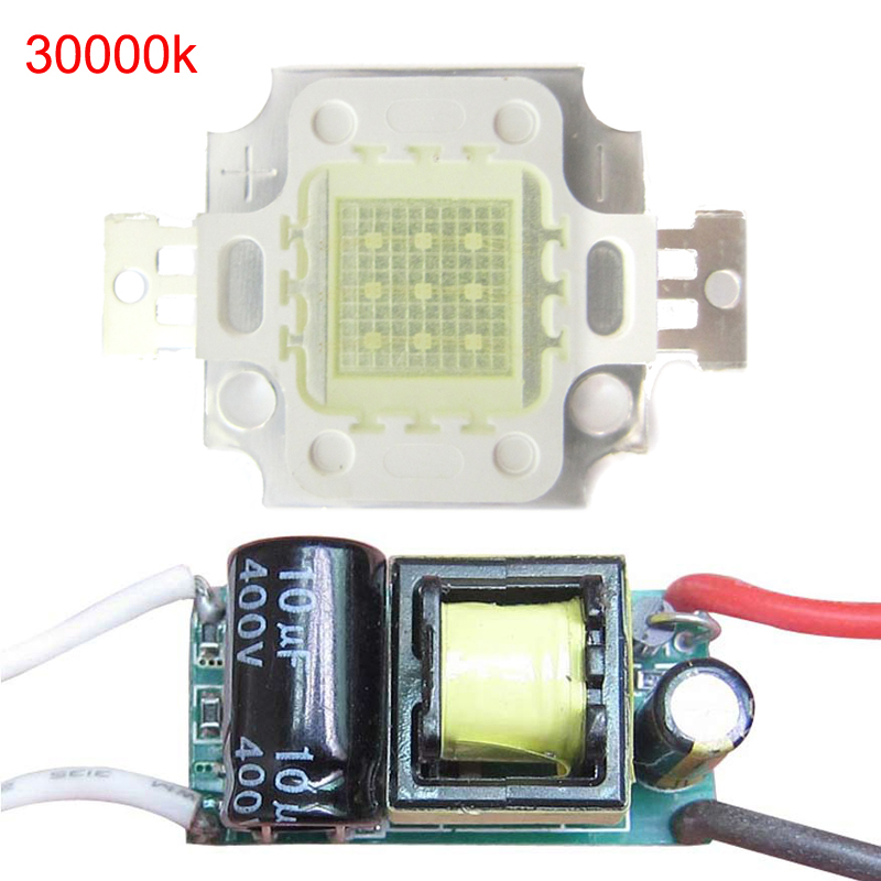 1pcs 10w 30mil Warm Neutral Cold Cool White 3000K 4500K 6000K 10000K 20000K <font><b>30000K</b></font> <font><b>LED</b></font> Diodes Light Part + AC 85~265V <font><b>LED</b></font> driver image