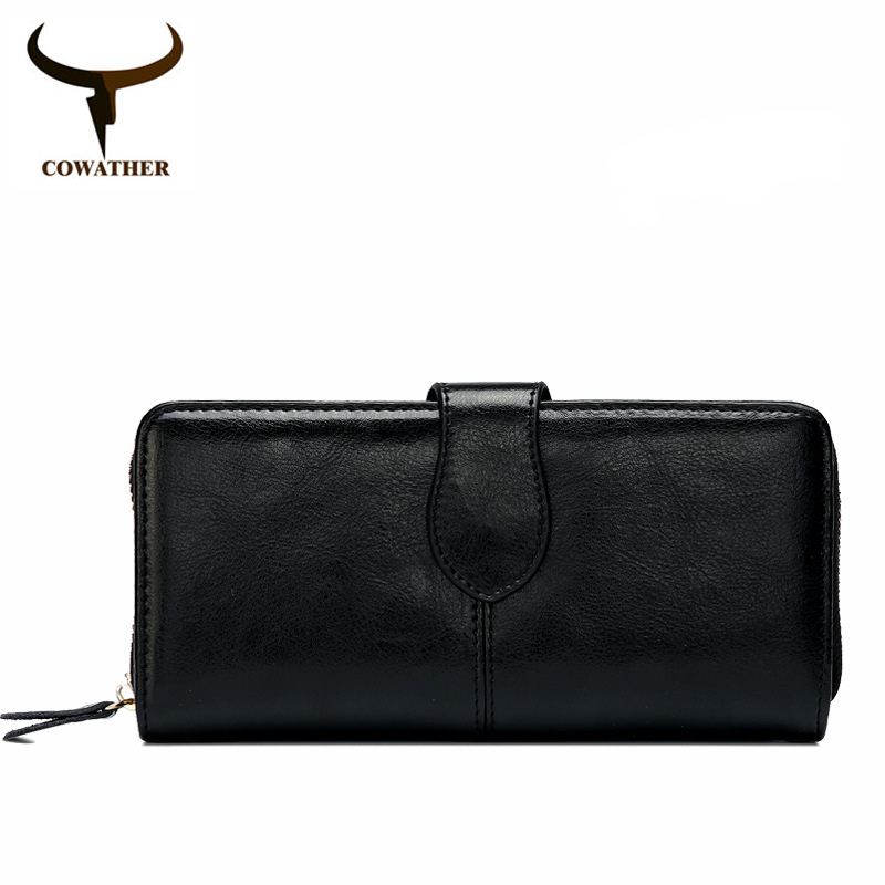 COWATHER 2017 Women purse New fashion cow genuine leather for women,long style design wallet 6 color quality original brand cowather new 100