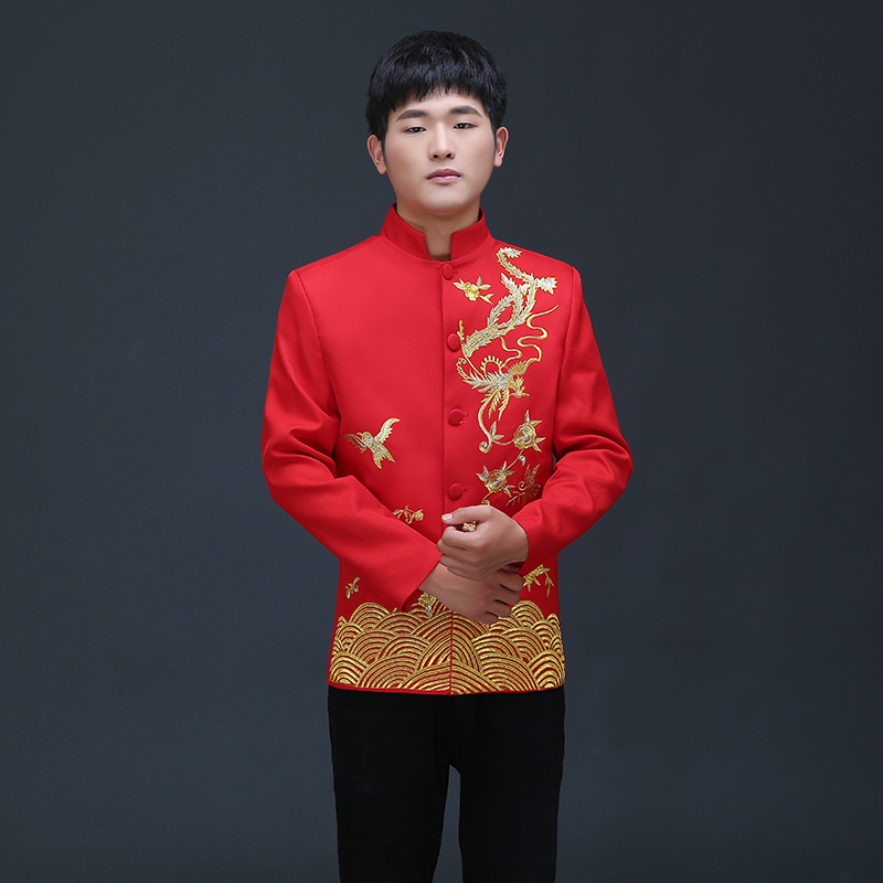 Vêtements chinois d'outre-mer style traditionnel mariage haut bleu marié dragon robe de soirée rouge haut slim rouge tang costume chinois tunique - 3