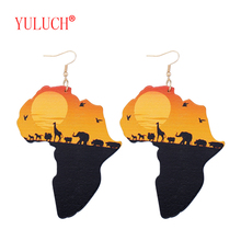 YULUCH 2018 Latest Ethnic Women Jewelry Design Natural Wooden African Original Eco Animal Painted Pattern Pendant Earrings Gifts