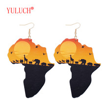 YULUCH 2018 Latest Ethnic Women Jewelry Design Natural Wooden African Original Eco Animal Painted Pattern Pendant Earrings Gifts(China)