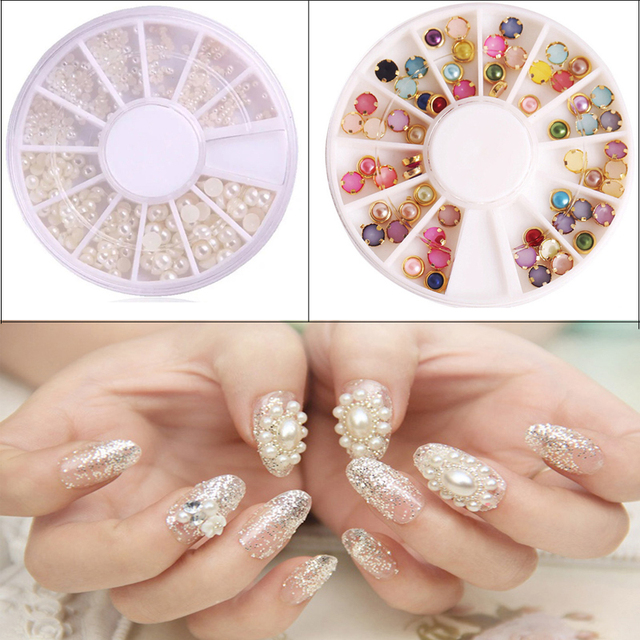 2pcs Pearls For Nails Stickers Tips Decoration Wheel Nail Art Rhinestone New Arrive